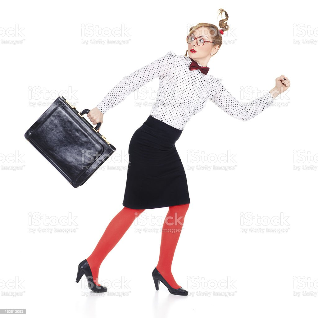 Business woman running away isolated on white background royalty-free stock photo