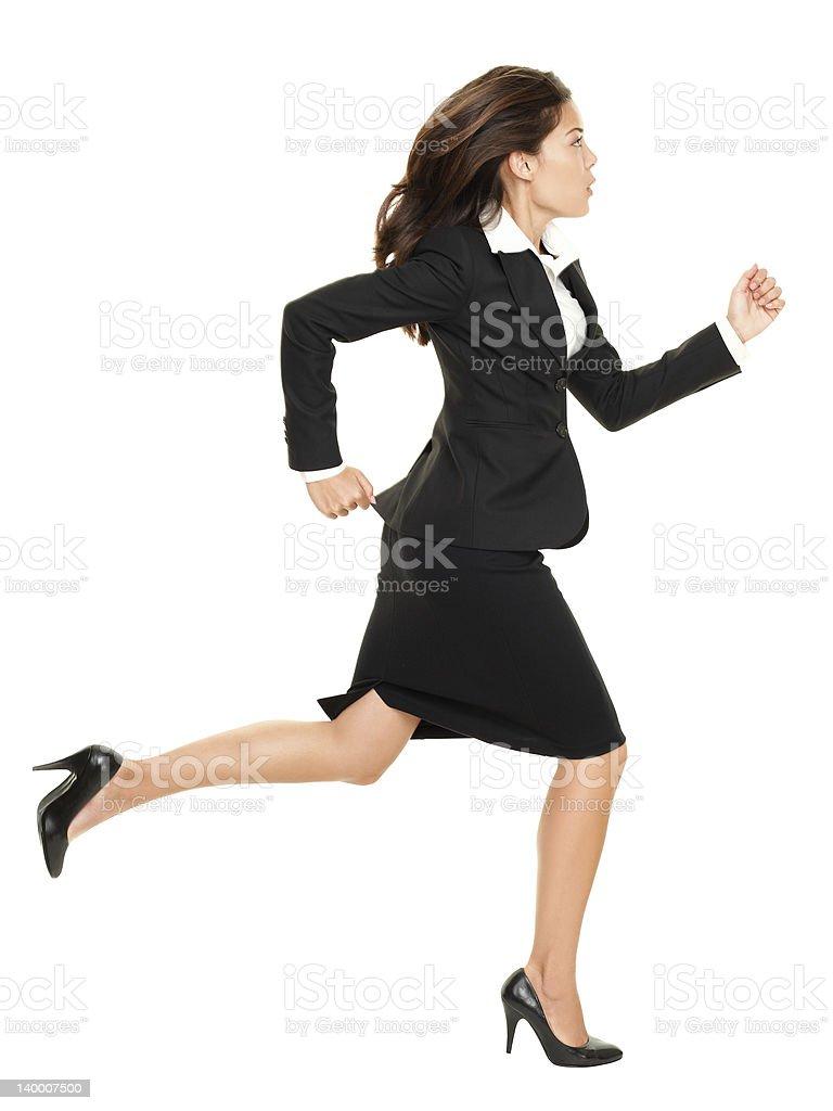 Business woman running stock photo