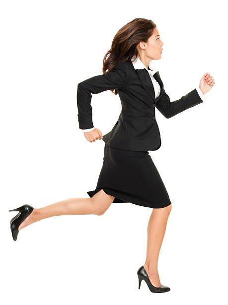 ビジネスの女性を実行 - 女性会社員 ストックフォトと画像