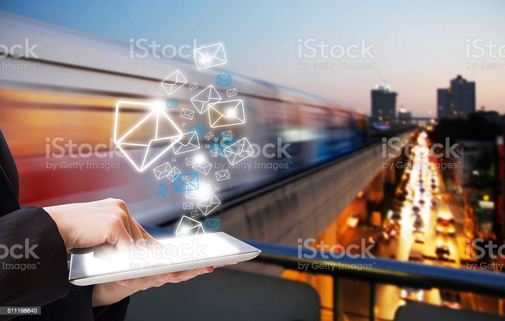 Business woman sending email marketing stock photo