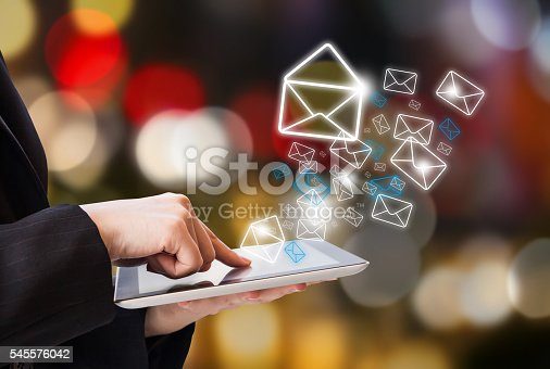 istock Business woman sending email 545576042