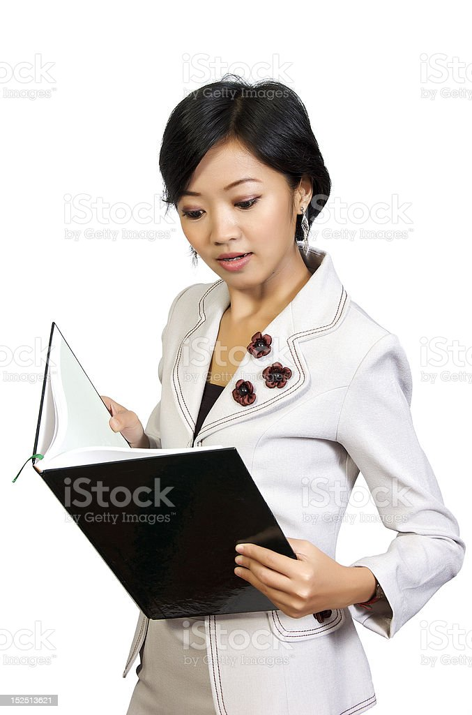 Business Woman Shock Looking at the Book royalty-free stock photo