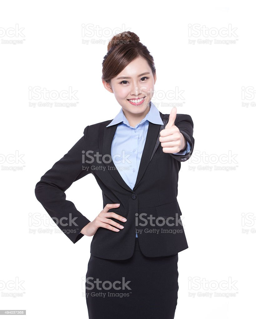 business woman show thumb up stock photo