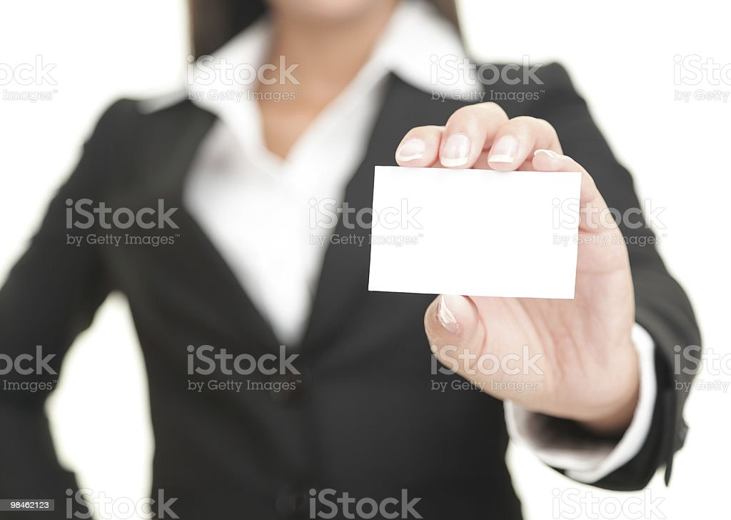 A business woman showing a business card royalty-free stock photo