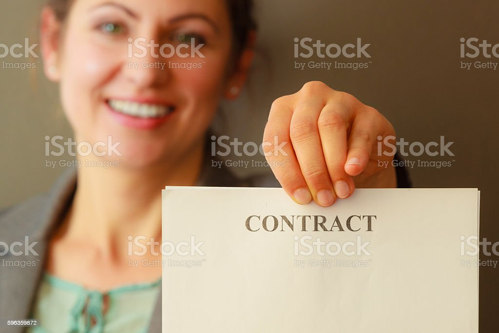 Business woman showing contract royalty-free stock photo