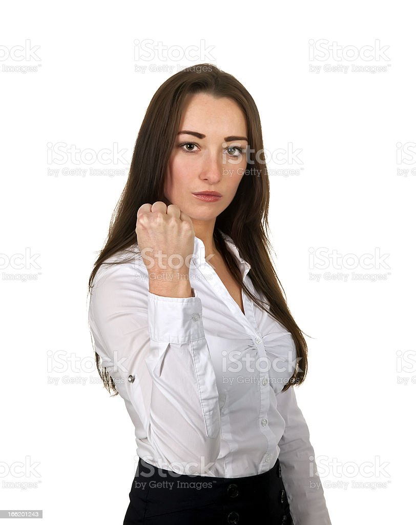 business woman showing her fist stock photo
