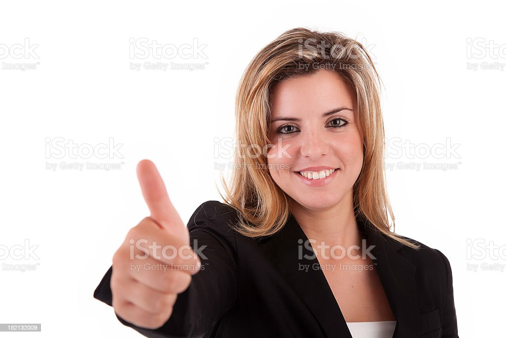 Business woman showing thumb up stock photo