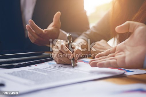 istock Business woman signing a contract document on office.teamwork successful Meeting Workplace strategy Concept 856634504