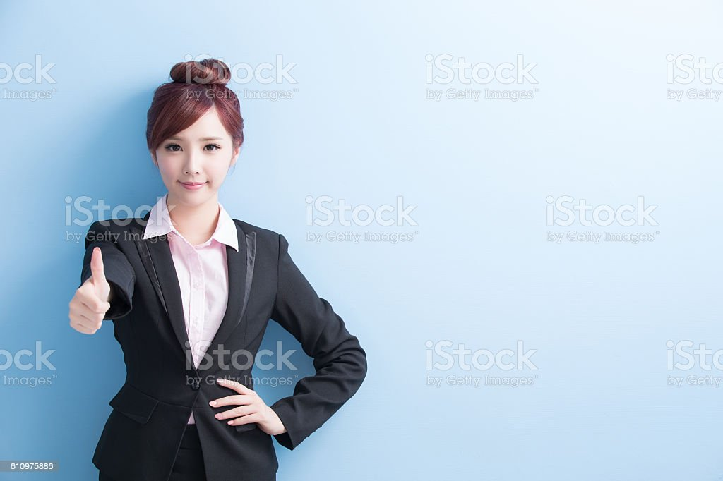 business woman smile to you stock photo
