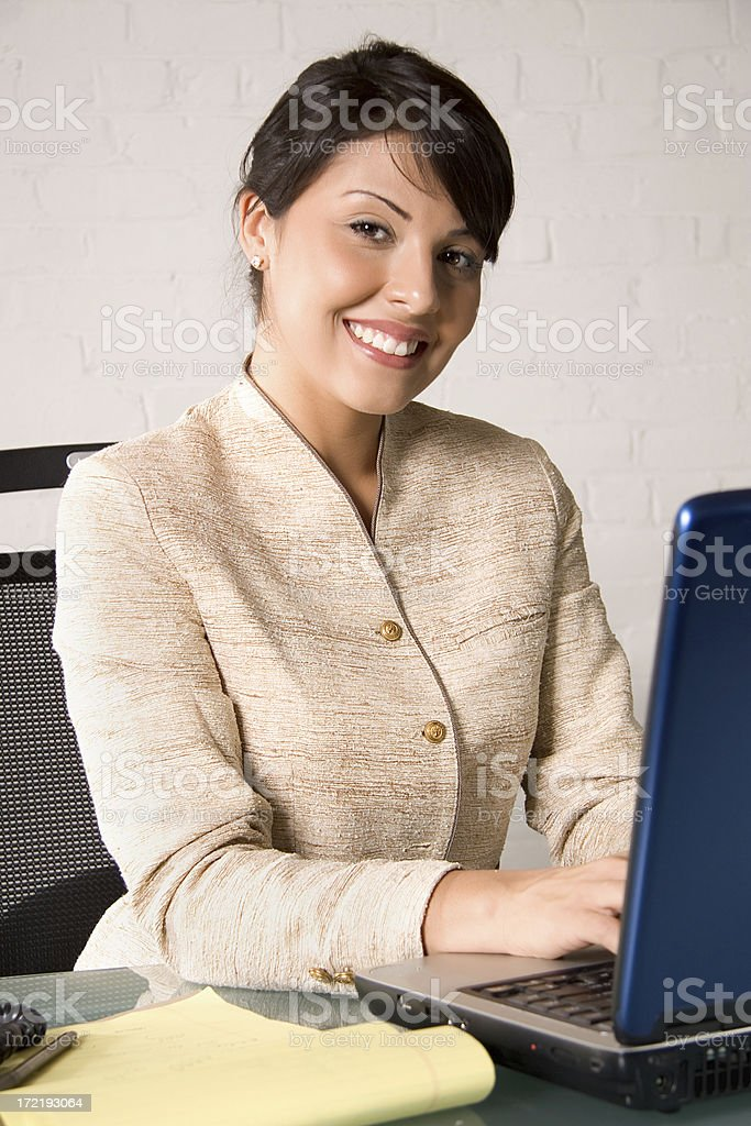 Business woman smile with laptop royalty-free stock photo