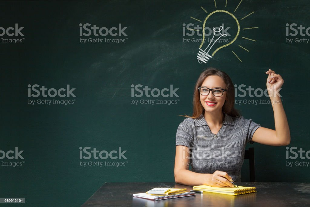 Business woman snapping fingers stock photo