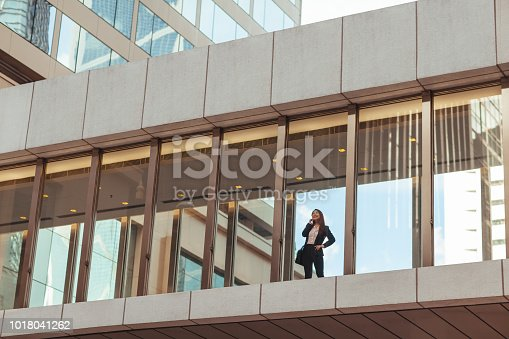 Business woman standing on pedestrian bridge
