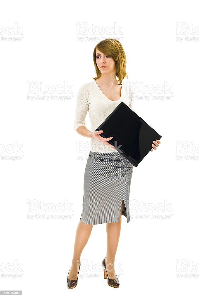 Business woman standing with laptop royalty-free stock photo