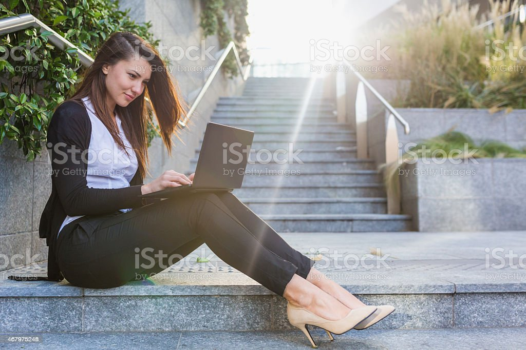 Business woman surfing the internet stock photo