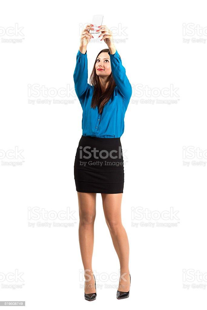 Business woman taking high angle selfie or self photo stok fotoğrafı