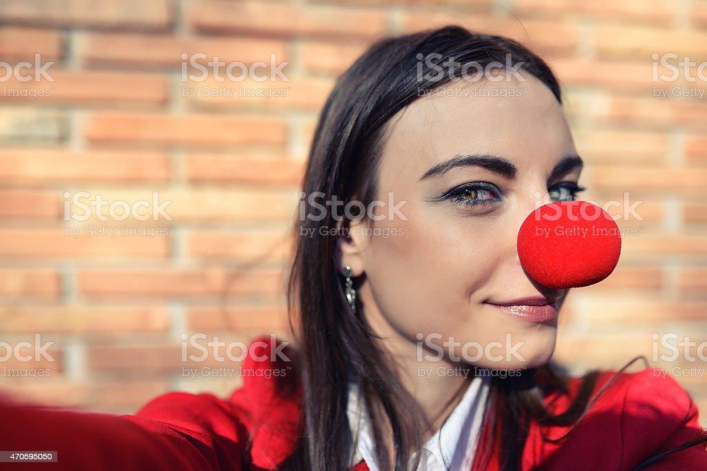 Business woman taking selfie stock photo