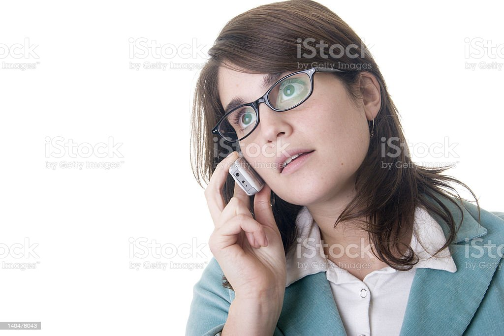 Business woman talking on a cell phone with loose sight royalty-free stock photo