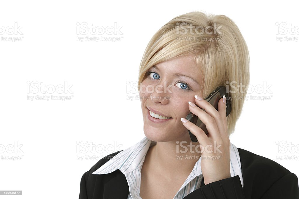 Business woman talking on her mobile phone royalty-free stock photo