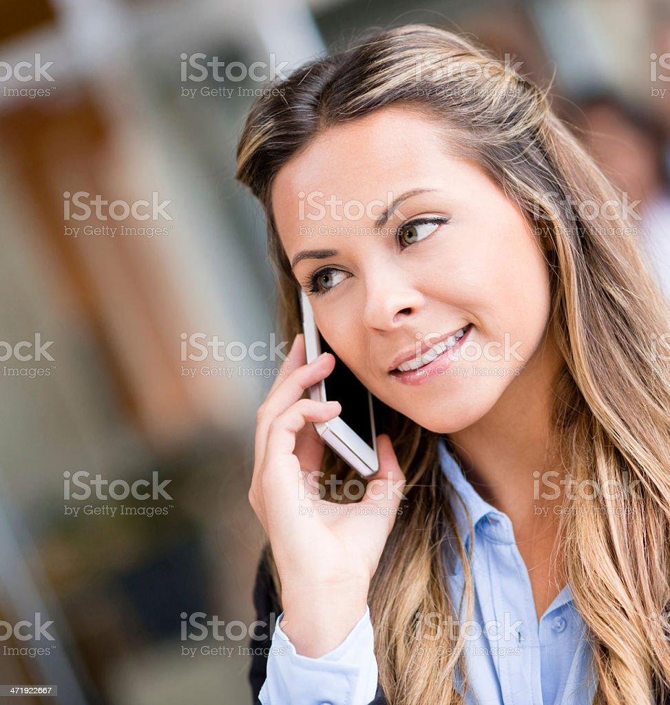 Business woman talking on the phone royalty-free stock photo