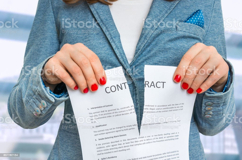 Business woman tearing contract in office stock photo