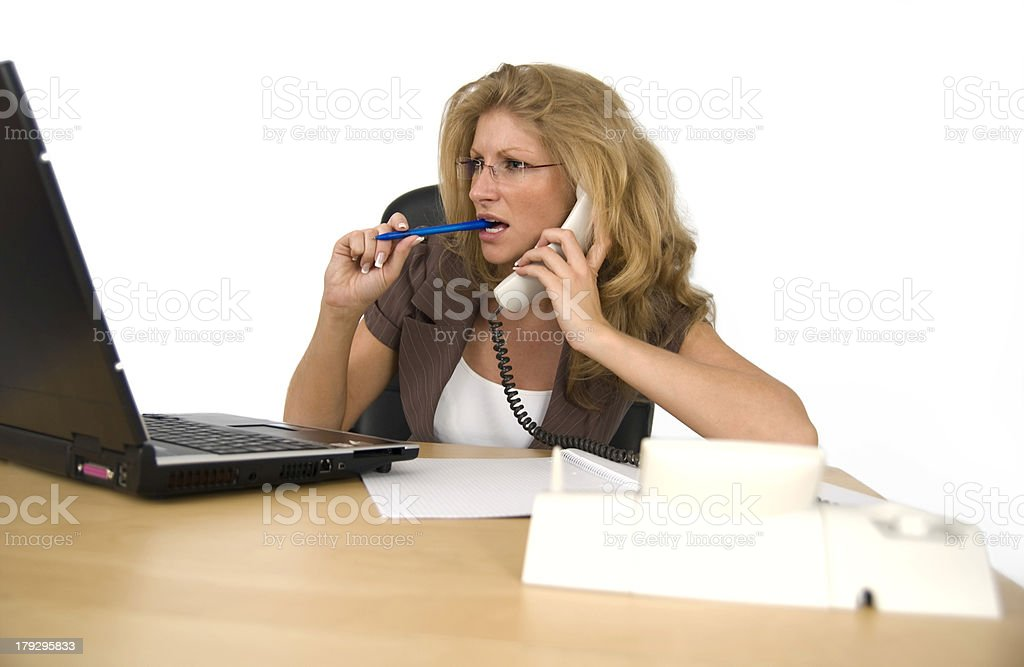 Business woman telephones. royalty-free stock photo