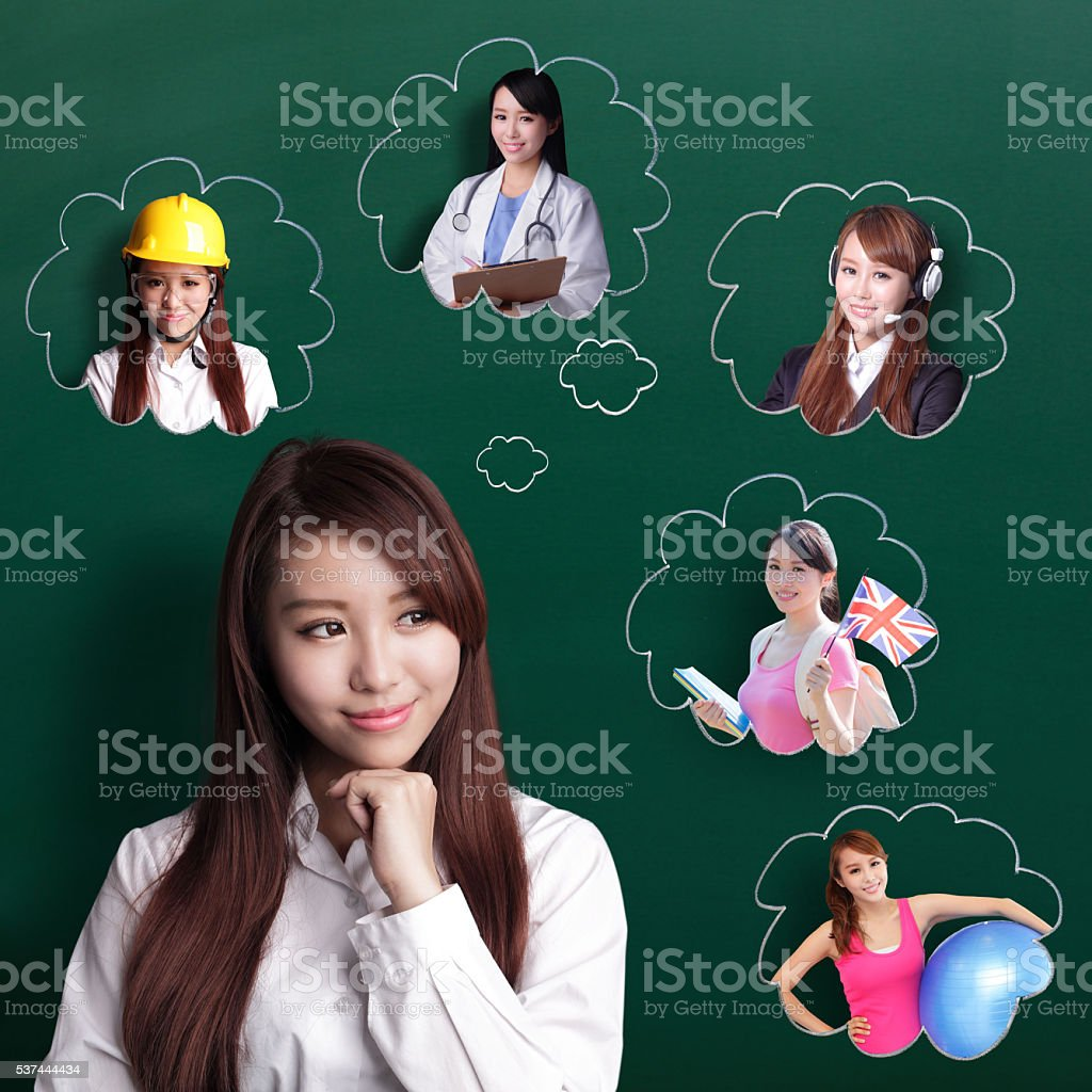 business woman think future stock photo