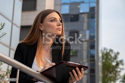 639428672istockphoto Business woman thinking about business plan while standing in front of work place 1158150327
