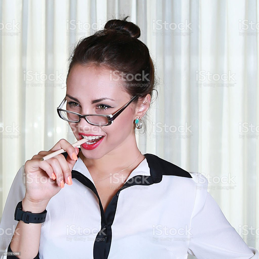 business woman thinking and smiling royalty-free stock photo
