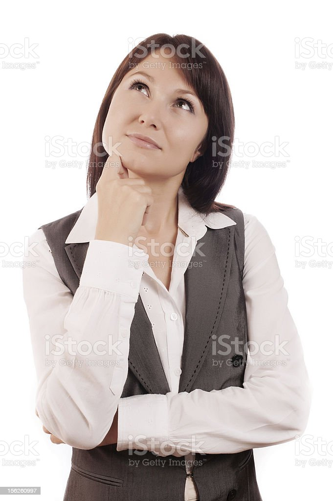 Business woman thinking or making choice royalty-free stock photo