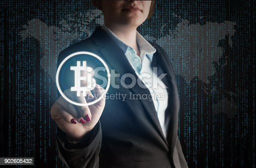 Business Woman touch bitcoin sign high quality and high resolution studio shoot