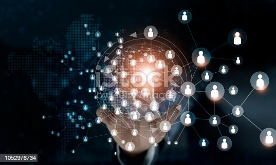 istock Business woman touching global structure networking and data exchanges customers connection on dark background. 1052976734