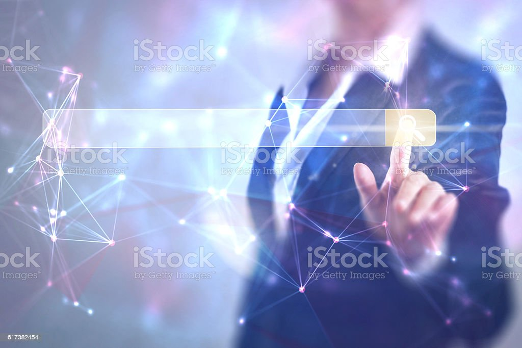 Business woman touching the search screen stock photo