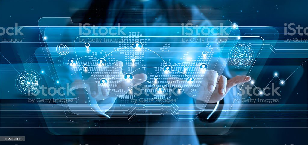 Business woman touching virtual icon customers of social network stock photo