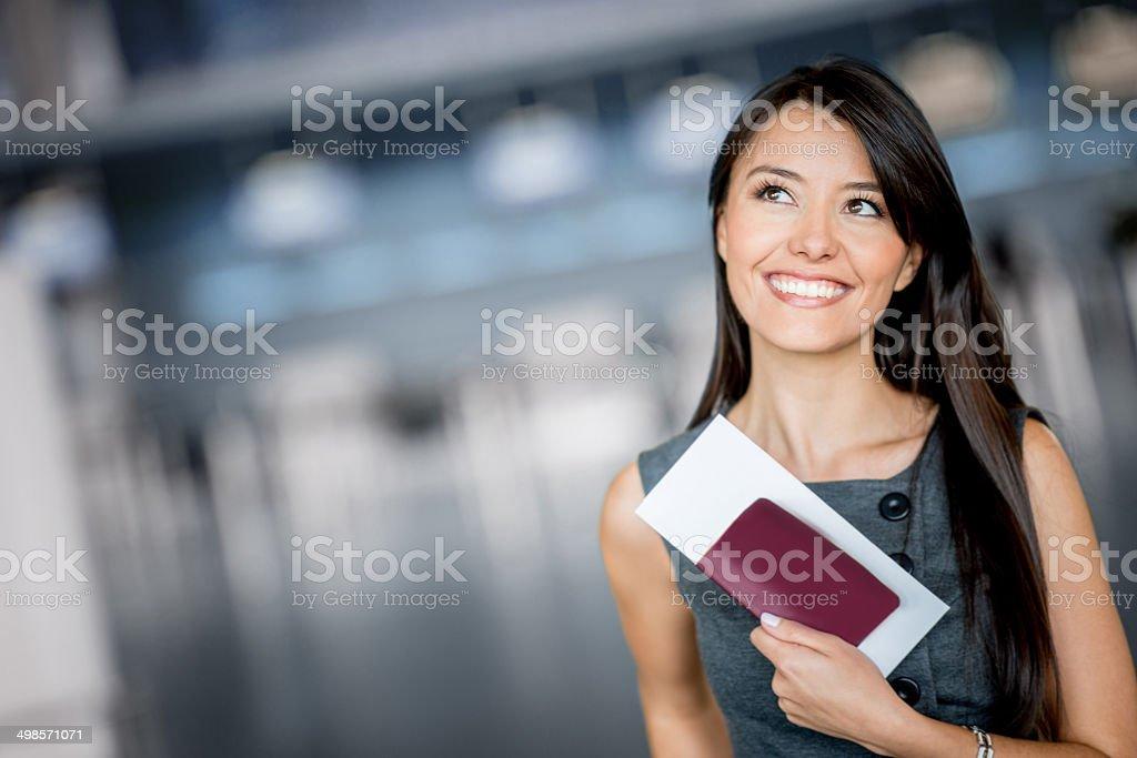 Business woman traveling stock photo