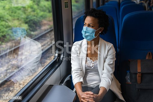 Business woman traveling with train