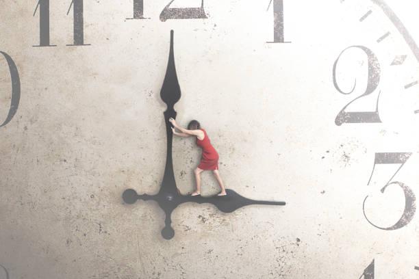 Business-Frau versucht, die Zeit zu stoppen – Foto