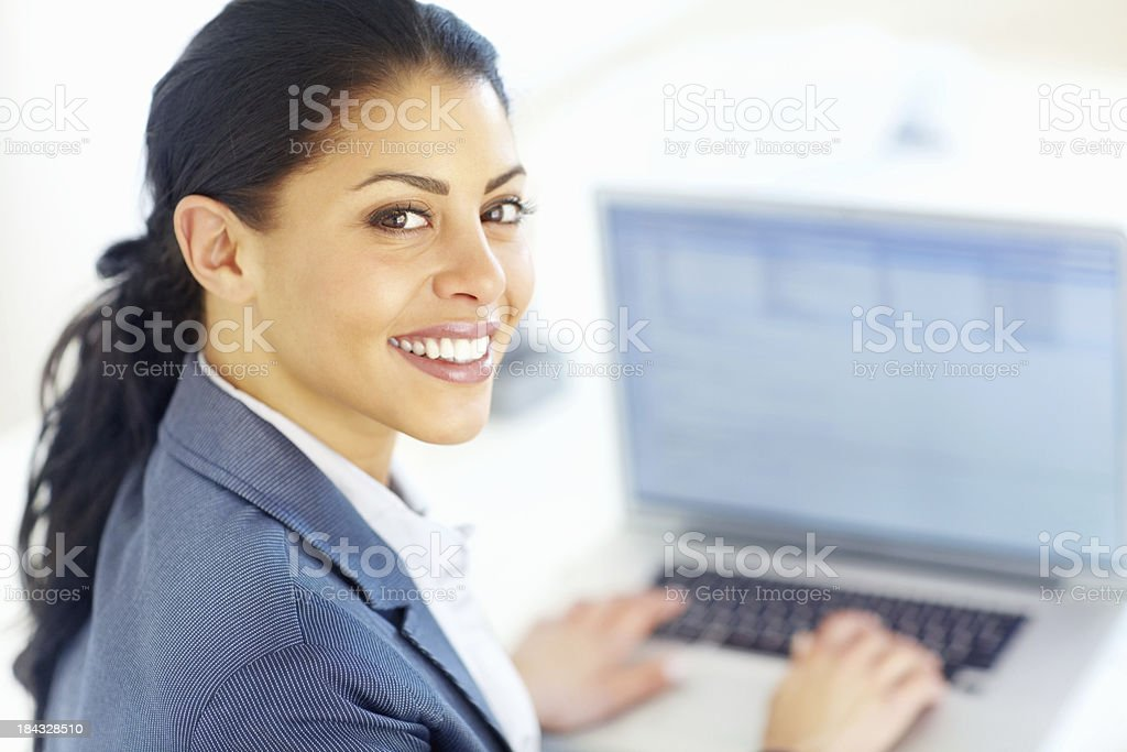Business woman typing on laptop royalty-free stock photo