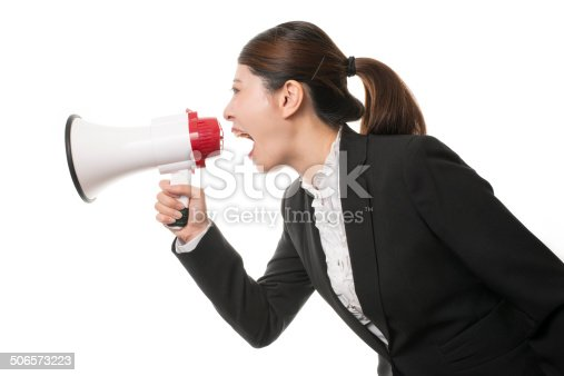 istock Business Woman Using a Megaphone 506573223
