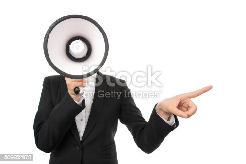 istock Business Woman Using a Megaphone 506652973