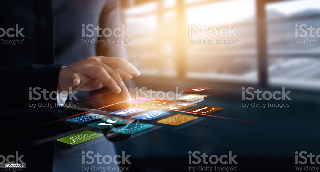 business woman using mobile payments online shopping and icon customer network connection on virtual screen, m-banking and omni channel stock photo