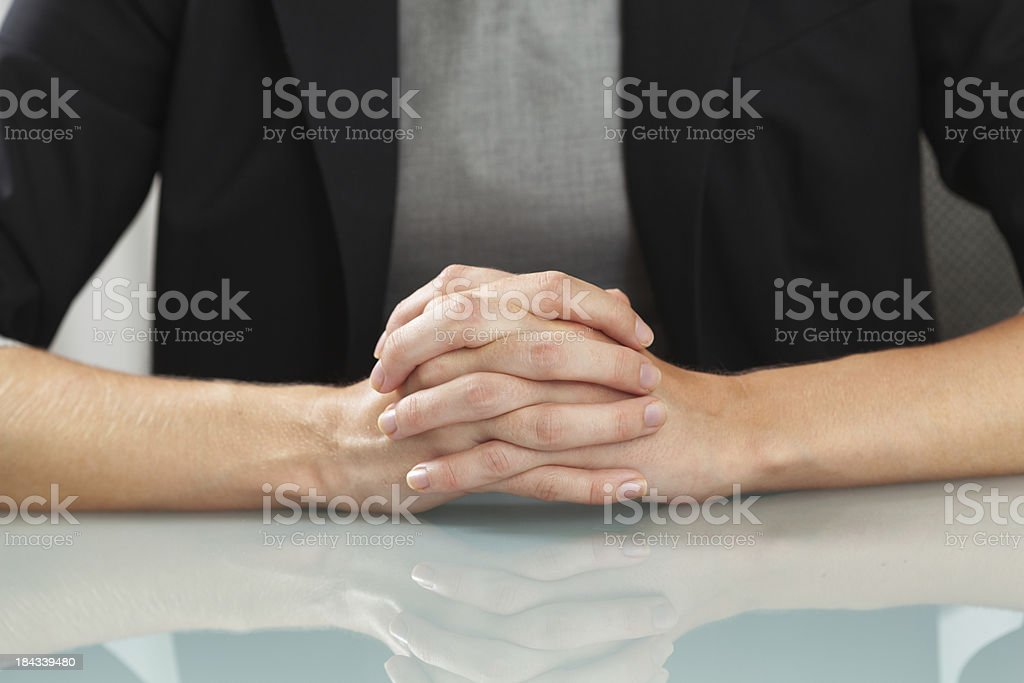 Business Woman Waiting with Hands Folded royalty-free stock photo