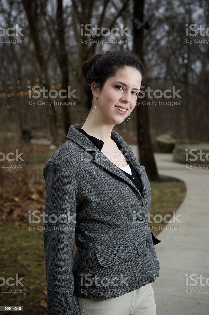 business woman walking along a path. royalty-free stock photo