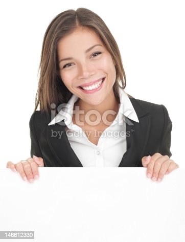 istock Business woman white sign board 146812330