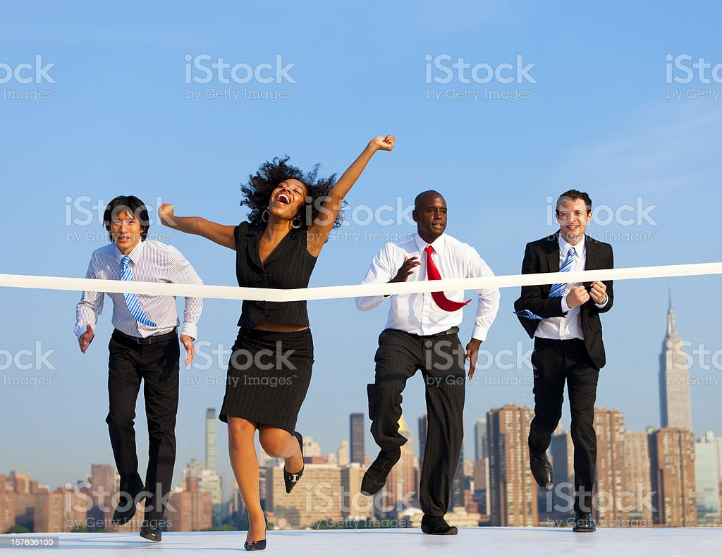 Business Woman winning a competition stock photo