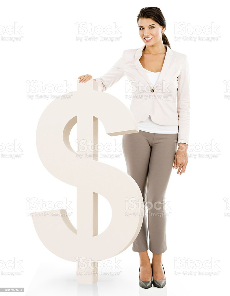 Business woman with a dollar symbol royalty-free stock photo