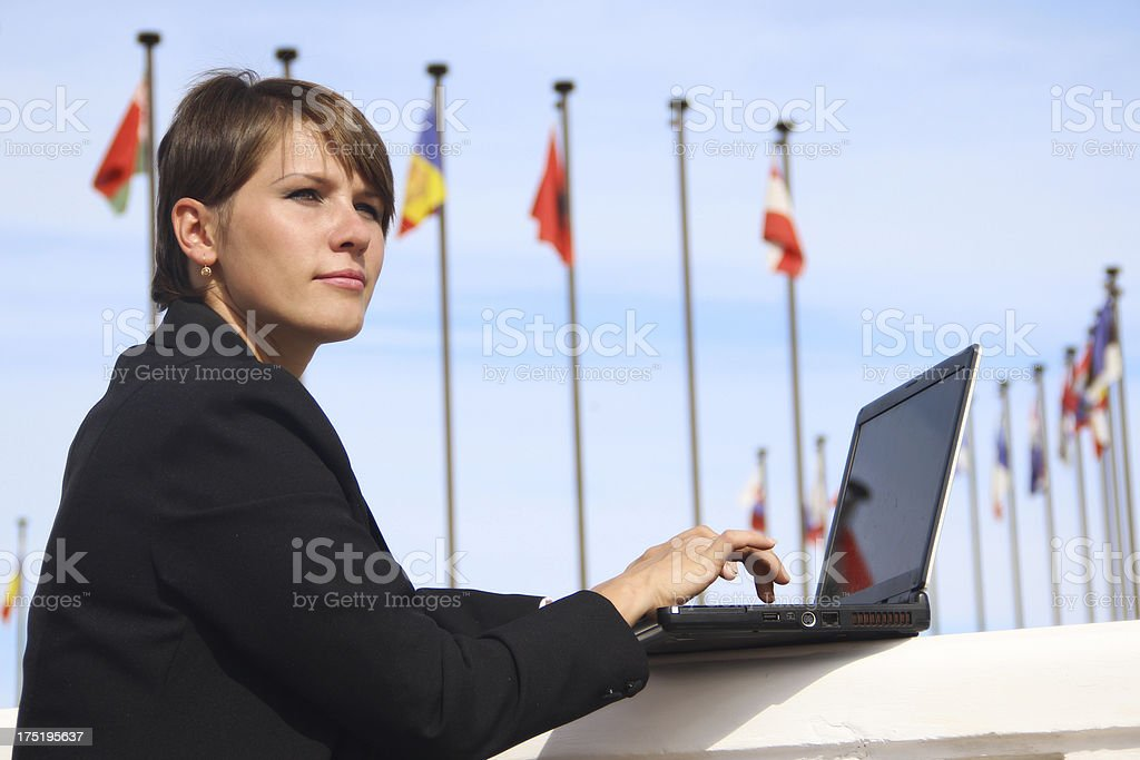 business woman with a laptop royalty-free stock photo