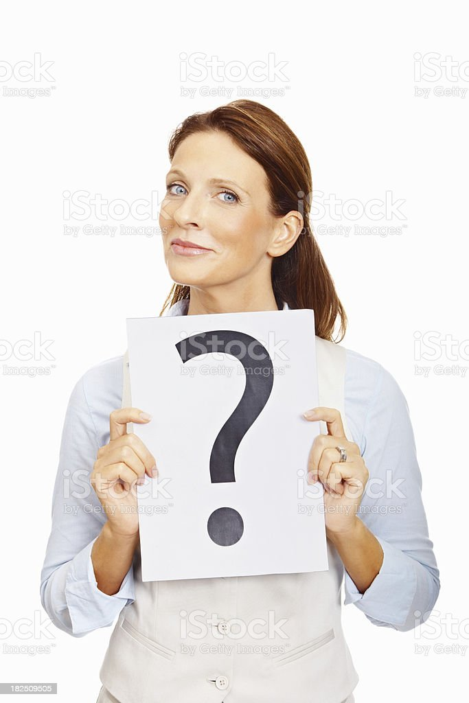 Business woman with a question mark sign on white royalty-free stock photo