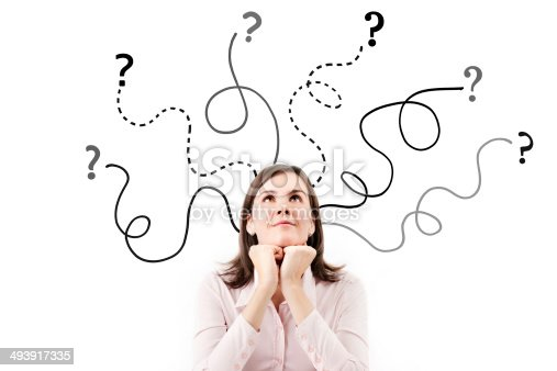 istock Business woman with arrows and questions sign. 493917335