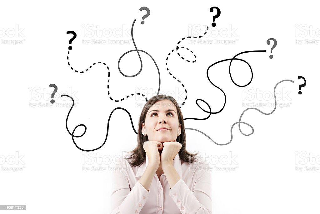 Business woman with arrows and questions sign. stock photo