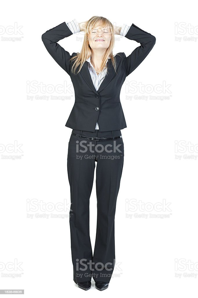 Business woman with bad news holding head in frustration royalty-free stock photo
